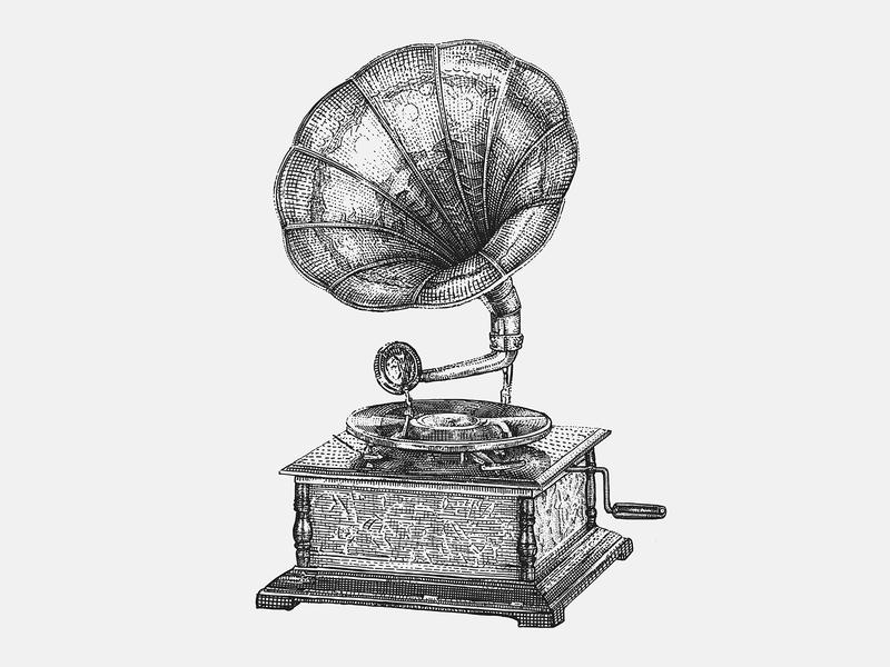 Hand-drawn Vintage Gramophone music player fonograph music microstock vector graphic vintage illustration