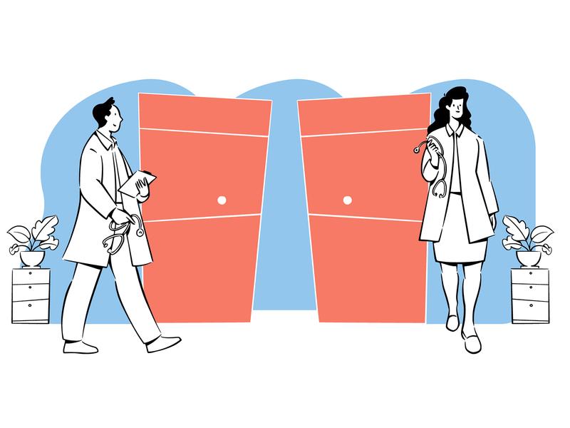 Doctor And Nurses Doodles Illustration vector doodle art doodles retro design microstock vector graphic illustration