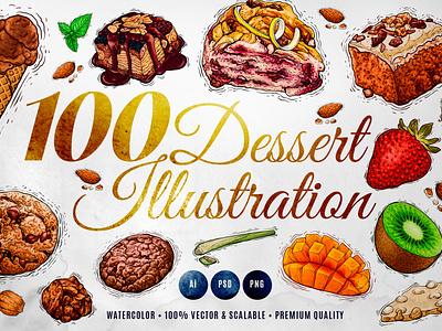 100 Dessert Watercolour Illustration pastry sweet delicious tasty menu food fruit chocolate ice cream cookie cake drink watercolor dessert illustration