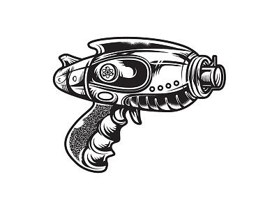 Raygun pistol tshirt design tee design apparel graphic logo illustration vector art vector graphic gun weapon space vintage retro raygun