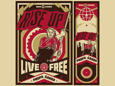 Rise Up Propaganda worker labor day movement logo microstock vintage propaganda illustration vector