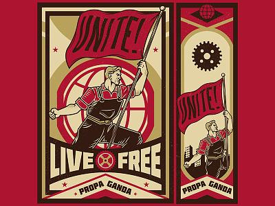 Unite Propaganda worker labor day movement logo microstock vintage propaganda illustration vector