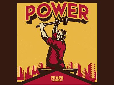 Power Propaganda worker labor day movement logo microstock vintage propaganda illustration vector