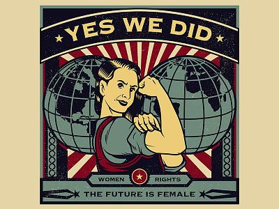 Female Power worker vintage vector propaganda movement microstock logo day labor illustration