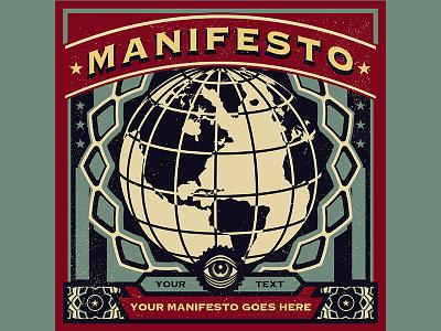 New World Order Poster vintage vector propaganda movement microstock logo illustration