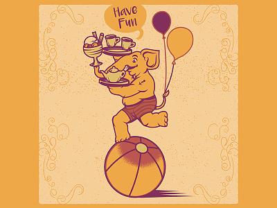 Joy Elephant Illustration retro logo vintage happy holiday fun microstock circus elephant