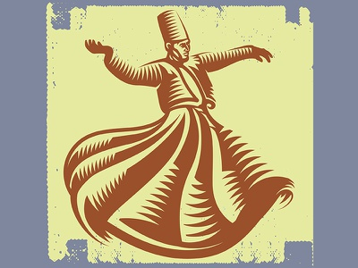 Whirling Dervish Dancing culture sufi rumi arabic microstock brand logo vintage retro dervish