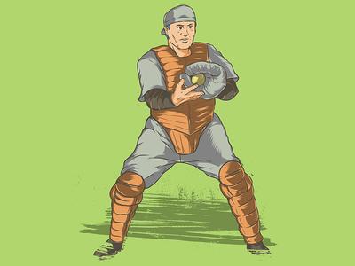 Baseball catcher illustration