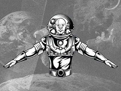 Astronot AE space man retro vintage vector graphic vector art apparel