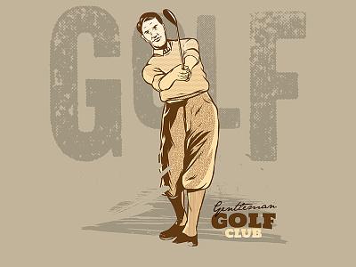 Vintage Golf Player Illustration drawing concept cartoon illustration vector vintage sport retro golf