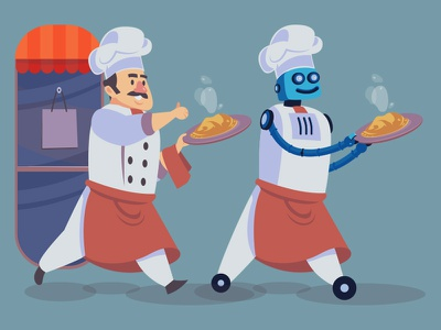Robot Chef Serve Food Faster culinary cartoon vector illustration cooking chef robot technology