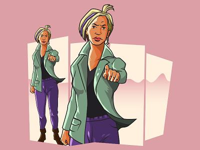 Angry Rachel feminism drawing vector comic inking illustration gta