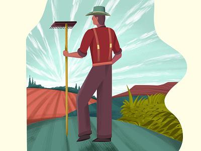 Farmer Character Illustration sketch drawing illustration farmer farm summer procreate