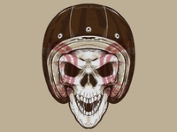 Vintage Biker Skull Illustration