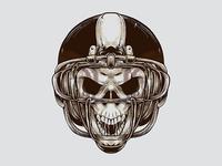 Vintage American Football Skull Illustration