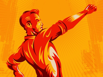 Clenched Fist Propaganda Poster raised fist movement apparel graphic worker vintage logo retro vector propaganda illustration