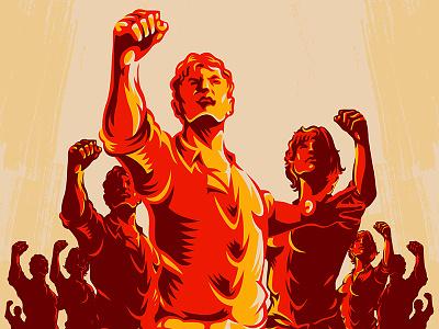 Crowd Protest Fist Revolution Poster branding labor day vector design brand classic labor logo retro illustration apparel vector art graphic worker movement microstock propaganda vintage