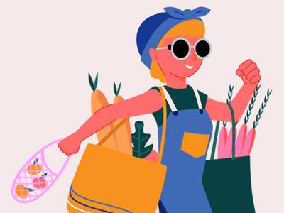 Retro Grocery Shopping Illustration grocery logo design worker graphic microstock illustration vector retro vintage