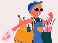Retro Grocery Shopping Illustration