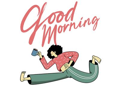 Good Morning Lettering Character Illustration