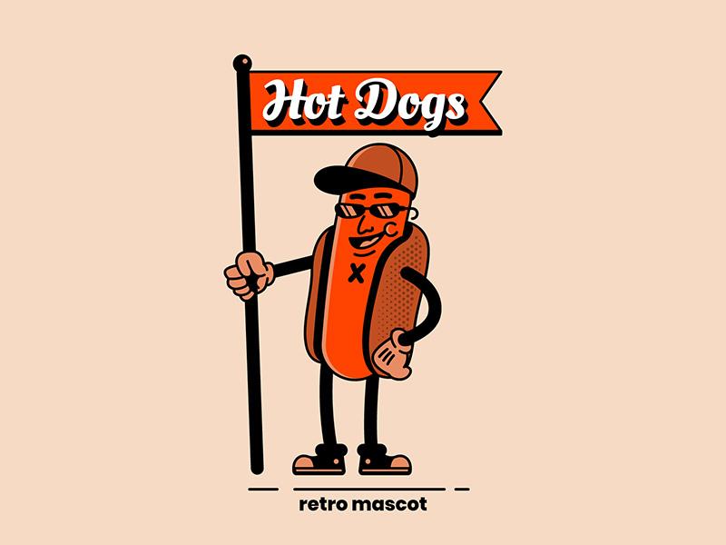 Retro Hotdog Mascot Concept Illustration vector graphic microstock vector retro vintage illustration mascot logo mascot fastfood hotdog summer food summer