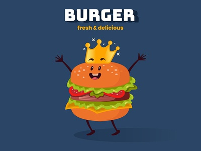 King Burger Mascot Concept Illustration