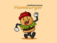 Retro Burger Mascot Concept Illustration