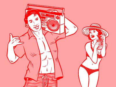 Rumours SG Retro Illustration boombox cocktail branding vector graphic vector illustration retro vintage