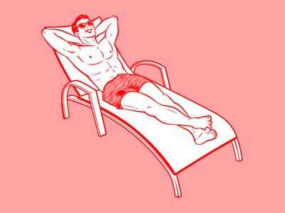Sunbathing Rumours SG Retro Illustration