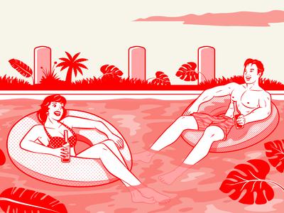 Rumours SG Pool Float Couple Illustration
