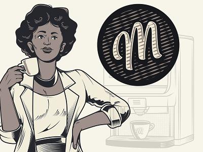 Retro Coffee Lady coffee shop coffee vector branding vector graphic logo retro illustration vintage
