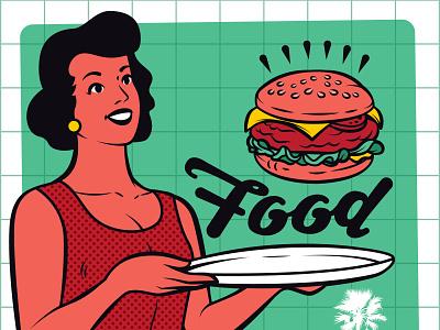 Retro Waitress Clipart diner lemonade coffee burger pizza branding design microstock vector graphic logo vector retro illustration vintage