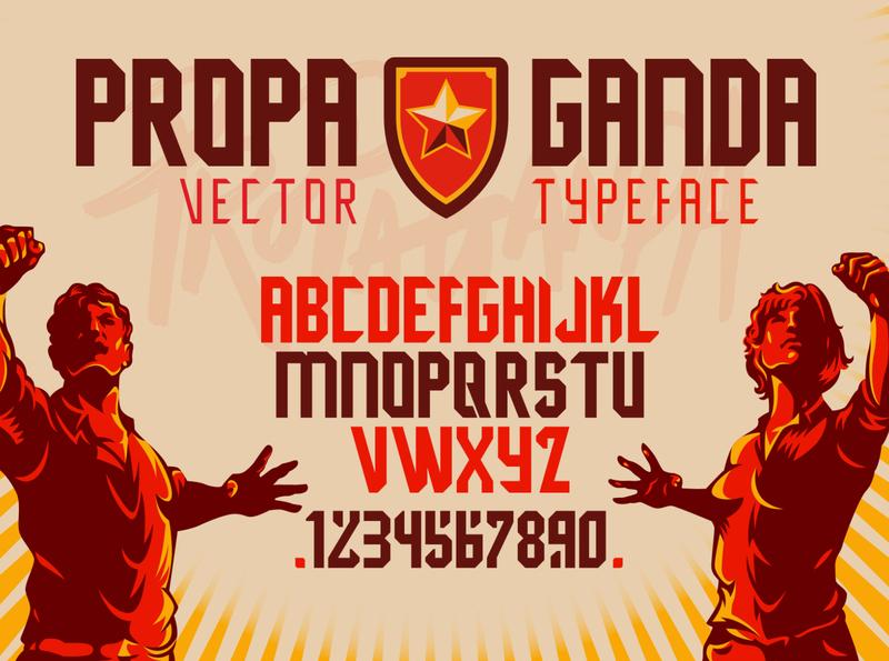 Propaganda Display Font Design typographic elements revolution product protest font design movement worker propaganda graphic logo vector graphic vector retro illustration vintage