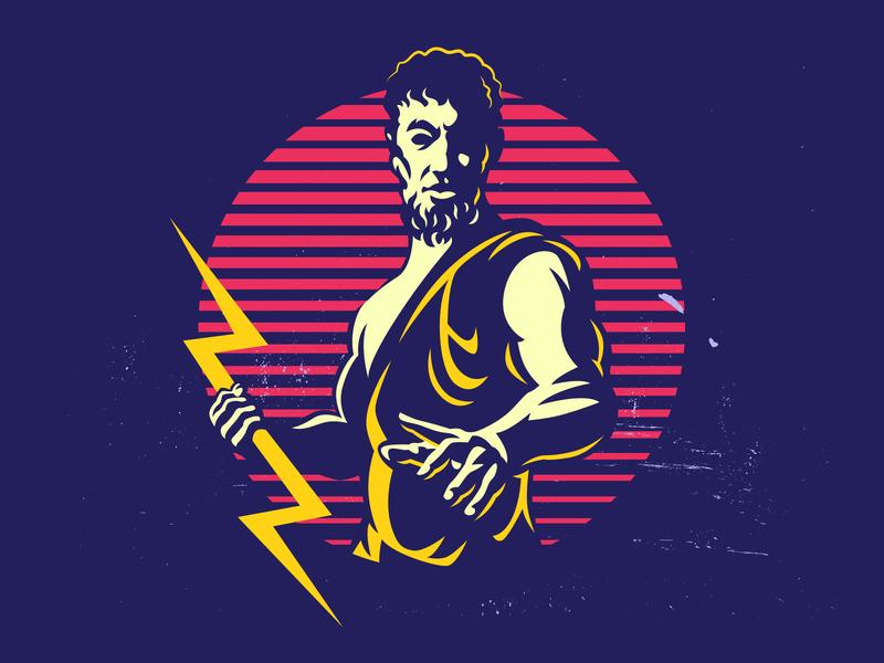 Zeus Hold Lightning Bolt Logo 80s lightning bolt zeus design branding propaganda graphic vector graphic vector logo illustration retro vintage