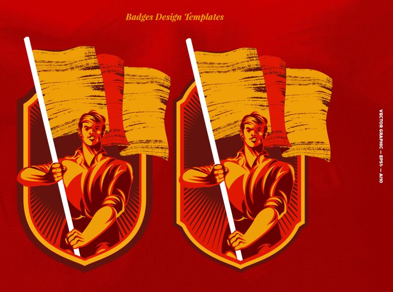 Revolution Raising The Flag Badge worker movement propaganda microstock graphic vector graphic logo retro illustration vintage