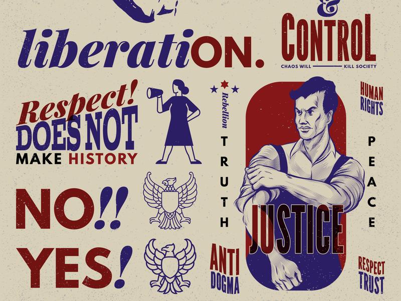 Propaganda Revolution Vintage Badge Design liberation peace sign vote typographic badge logo badge labor day branding worker propaganda vector graphic logo retro vector illustration vintage