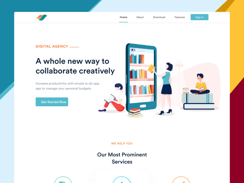 Landing Page - Productivity and Collaboration agency creative collaborate web design web ux design ux ui design ui interaction inspiration design brand page webflow marketing site landing website