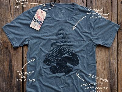 Arrowhead Sky Denim Shirt art midwest great plains arrowhead mountains nebraska screen printing branding design drawing sketch little mountain print shoppe hand drawn illustration joe horacek
