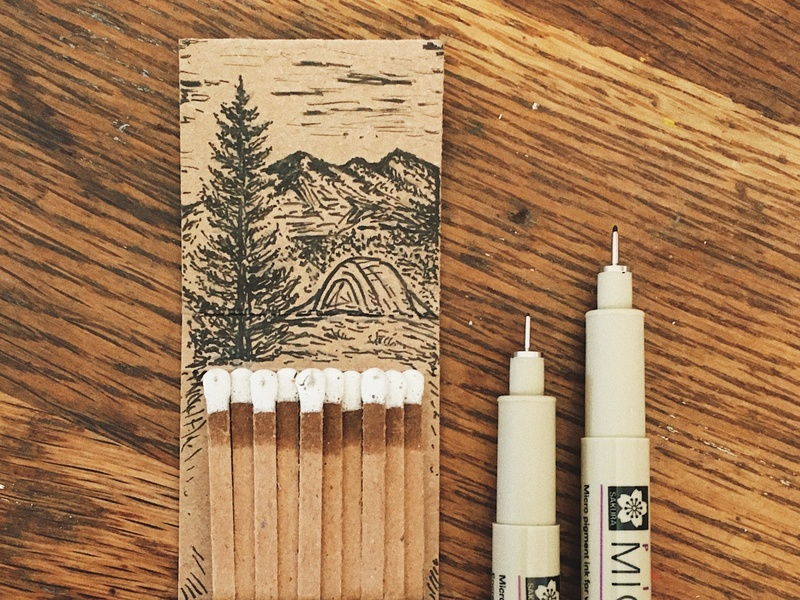 Original Matchbook Illustration micron design sketch little mountain print shoppe hand drawn illustration joe horacek drawing tent nature forest mountains camping matchbook