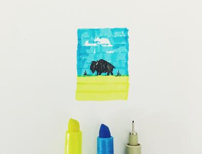 Bison Highlighter midwest south dakota great plains buffalo bison nebraska design drawing sketch hand drawn illustration joe horacek