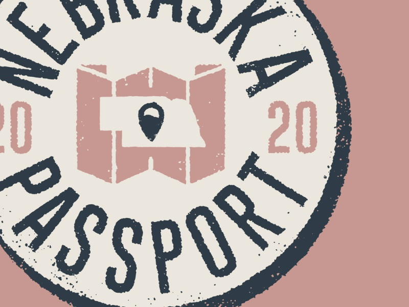 Nebraska Passport Logo icon travel explore passport branding logo nebraska lettering design type little mountain print shoppe typography joe horacek