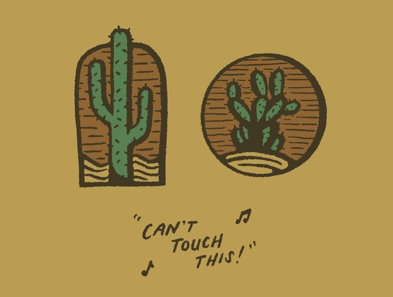 Can't Touch This! lettering sketch typography hand drawn joe horacek procreate southwest cactus desert drawing art design illustration mc hammer