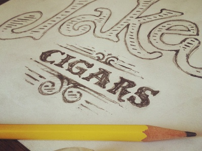 Jakes Cigars typography type illustration sketch drawing cigars vintage hand drawn