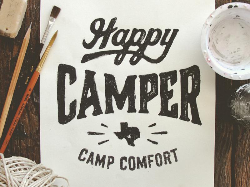 Happy Camper illustration type typography hand drawn joe horacek happy camper little mountain