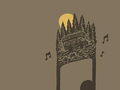 Feel Good Travelin Tunes music note design drawing sketch little mountain print shoppe hand drawn illustration joe horacek playlist explore travel wagoneer jeep canoe spotify