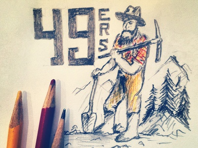 49ers 49ers sketch san francisco drawing typography illustration joe horacek