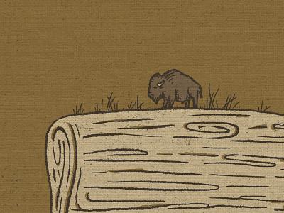 Bison Squeegee great plains screen printing design drawing bison procreate sketch little mountain print shoppe hand drawn illustration joe horacek