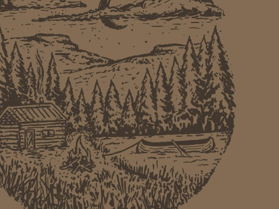 Lakeside Cabin sketch forest campfire procreate canoe mountains drawing hand drawn little mountain print shoppe illustration cabin