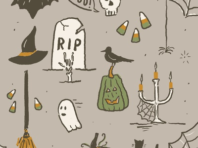 Halloween Illustrations procreate sketch drawing typography illustration little mountain print shoppe joe horacek spiderweb spooky skull ghost pumpkin halloween