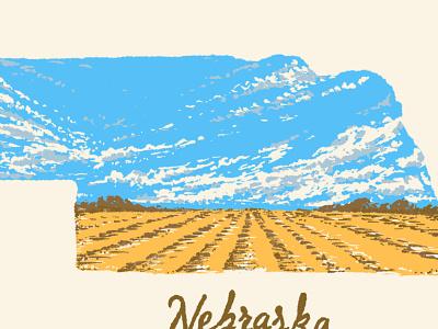 Nebraska Big Sky corn field prairie big sky midwest procreate great plains screen printing nebraska design drawing little mountain print shoppe hand drawn typography illustration joe horacek
